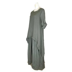 100% Lin Blanc Layered Linen Lagenlook Maxi Dress